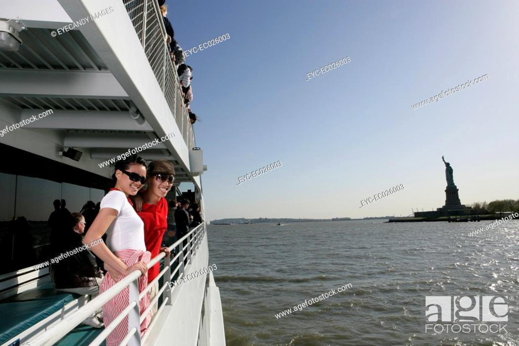 Stock Photo: Passengers aboard a ferry in the Hudson River.