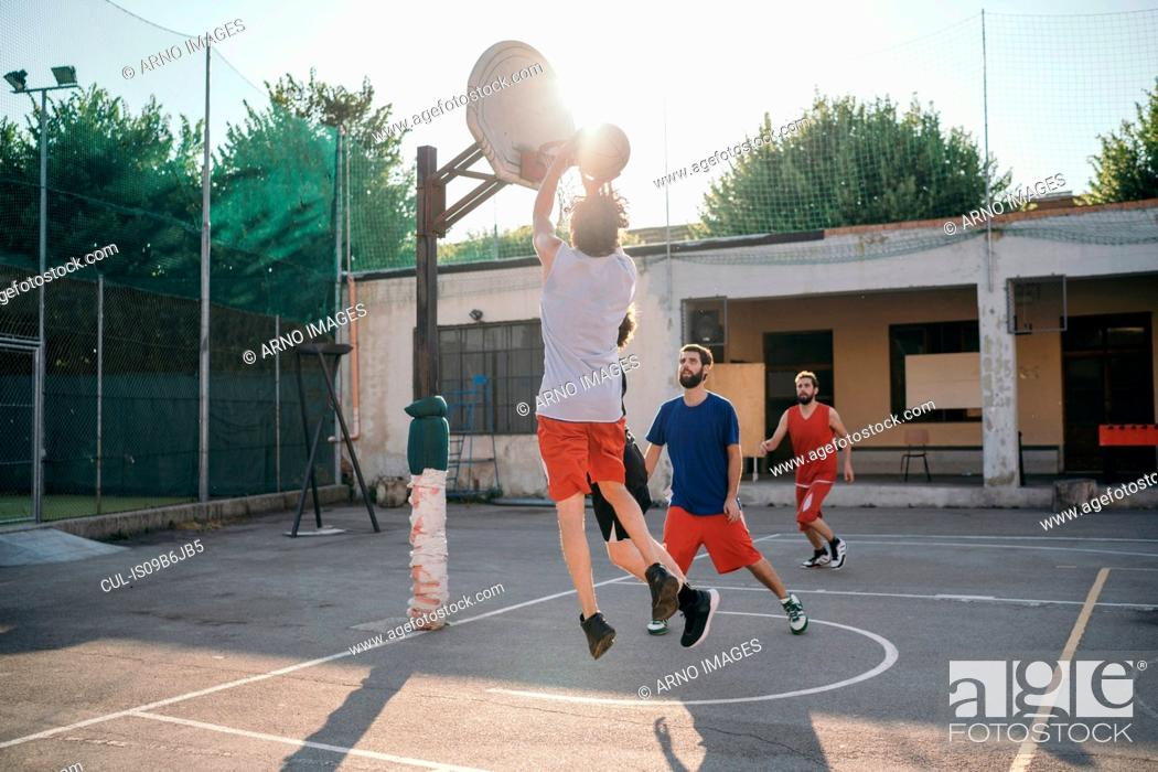 Friends On Basketball Court Playing Basketball Game Stock Photo Picture And Royalty Free Image Pic Cul Is09b6jb5 Agefotostock