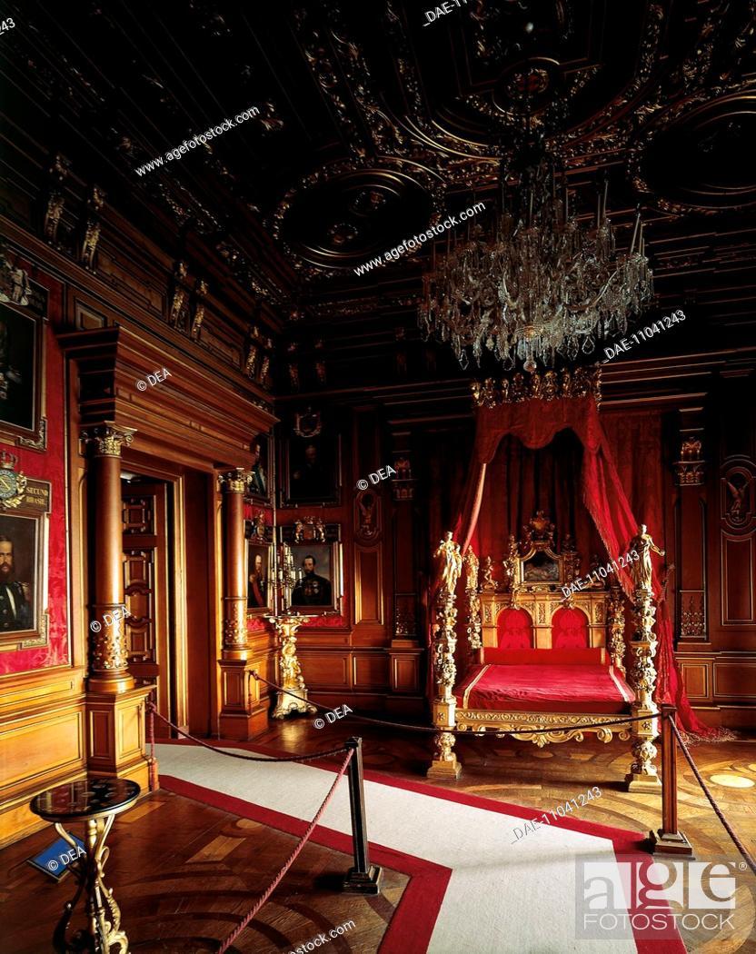 Stock Photo: Glimpse of the Imperial Room, Miramare Castle, Trieste, Friuli-Venezia Giulia. Italy, 19th century.