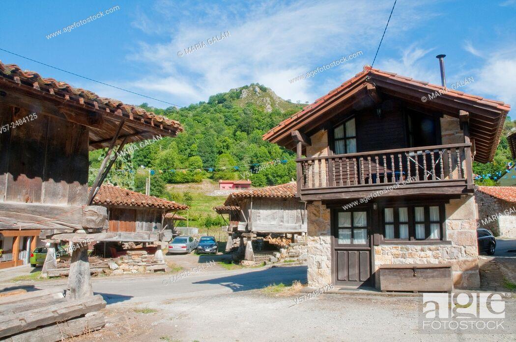 Stock Photo: Facade of house. Espinaredo, Asturias, Spain.