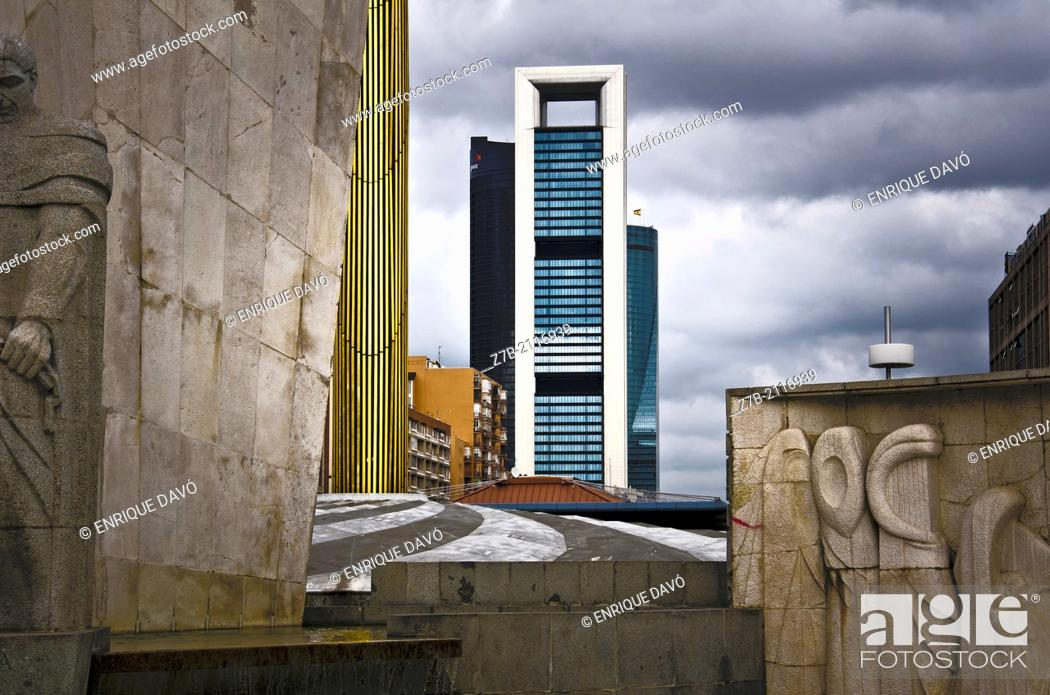 Stock Photo: Urban vision of a Plaza Castilla quarter of Madrid city.
