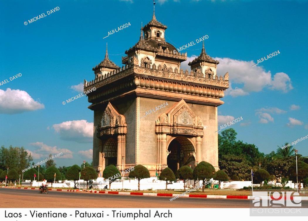 Stock Photo: Laos - Vientiane - Patuxai - Triumphal Arch.