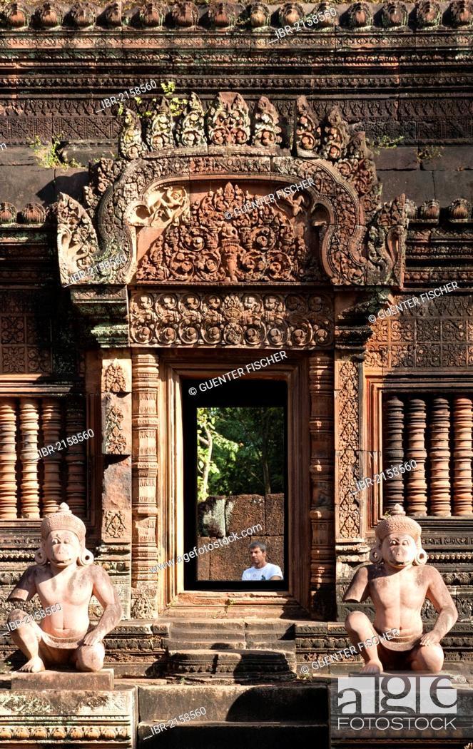 Stock Photo: Statues of the Hanuman deity as temple guardians, Banteay Srei temple, Citadel of the Women, Angkor, Cambodia, Southeast Asia.