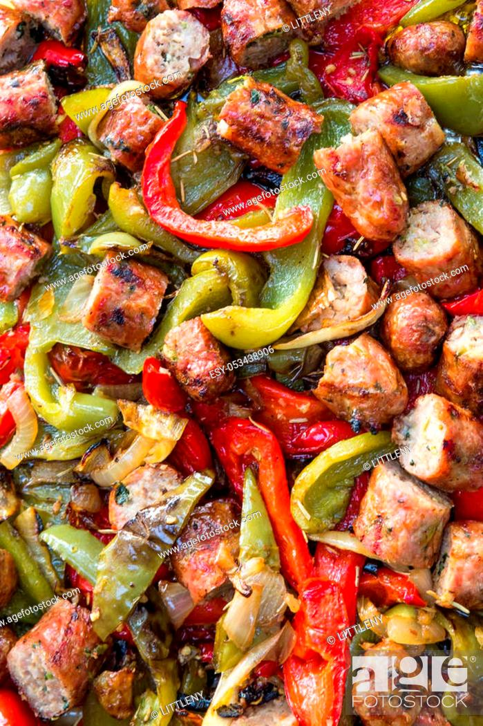 Stock Photo: Italian cuisine of sausage and peppers.