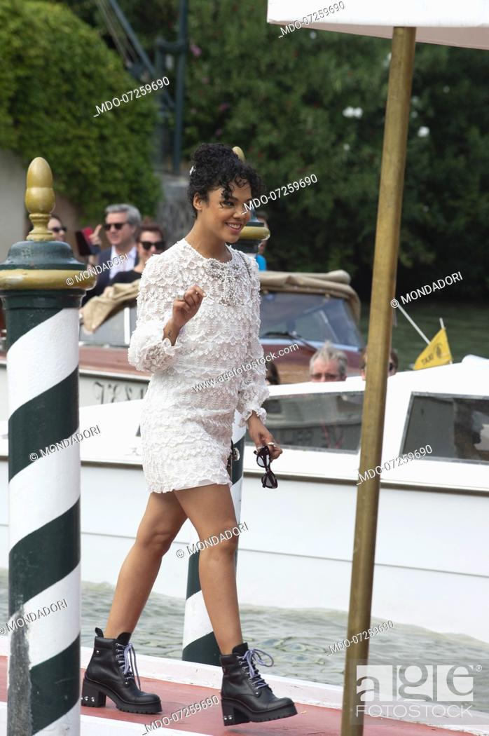 Stock Photo: VENICE, ITALY - SEPTEMBER 02: Tessa Thompson is seen arriving at the 76th Venice Film Festival on September 02, 2019 in Venice, Italy.