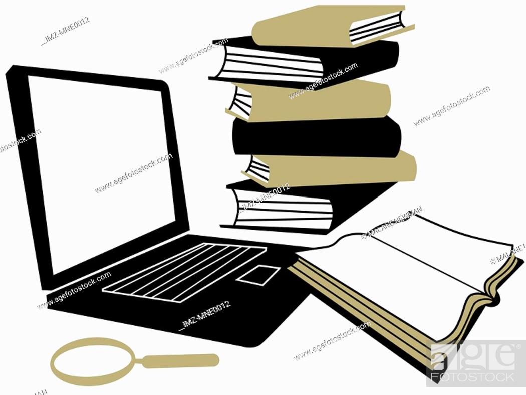 Stock Photo: A laptop computer, a magnifying glass and a stack of books.