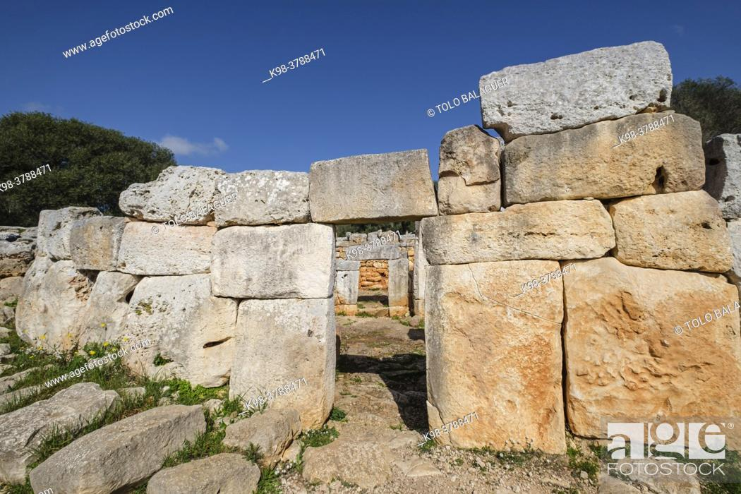 Stock Photo: Cartailhac Circle, Iron Age dwelling, Torre d'en Galmés talayotic village, Alaior, Menorca, Balearic Islands, Spain.