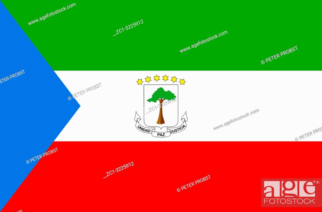 National Flag Of The Republic Of Equatorial Guinea Stock
