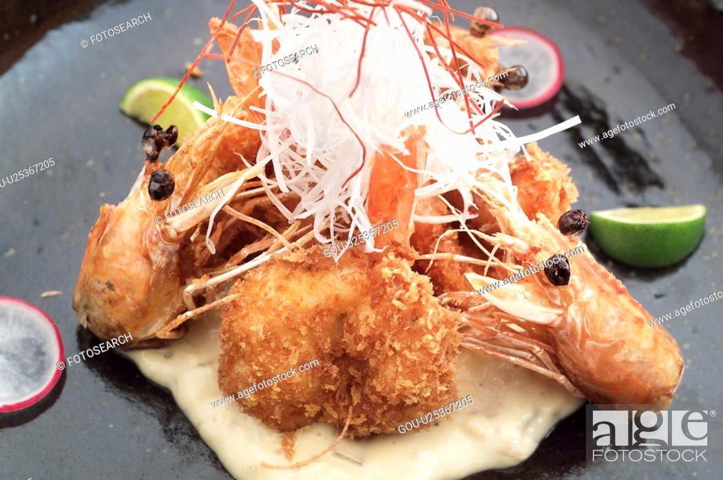 Stock Photo: Shrimp on a plate.