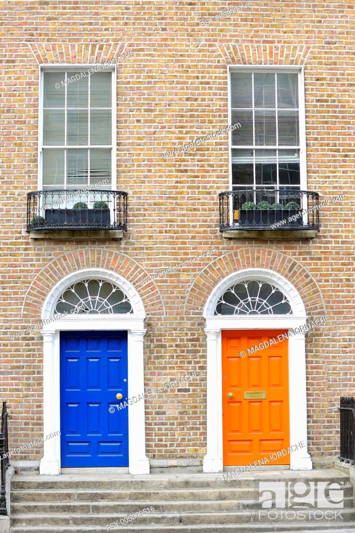 Stock Photo: Georgian doors in Dublin.