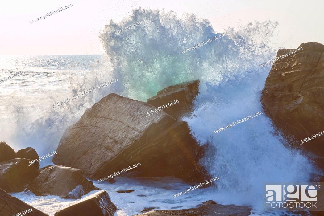 Stock Photo: Breaking wave, landscape, coast, sea, Hondarribia, Basque Country, Spain.