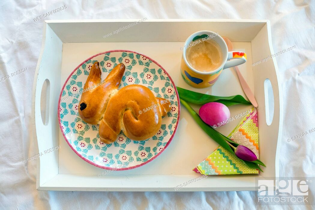 Stock Photo: Easter Breakfast on tray.
