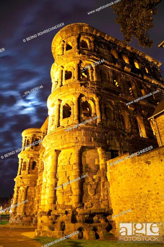 Stock Photo: Porta Nigra, illuminated at night, Rhineland-Palatinate, Trier, Germany.