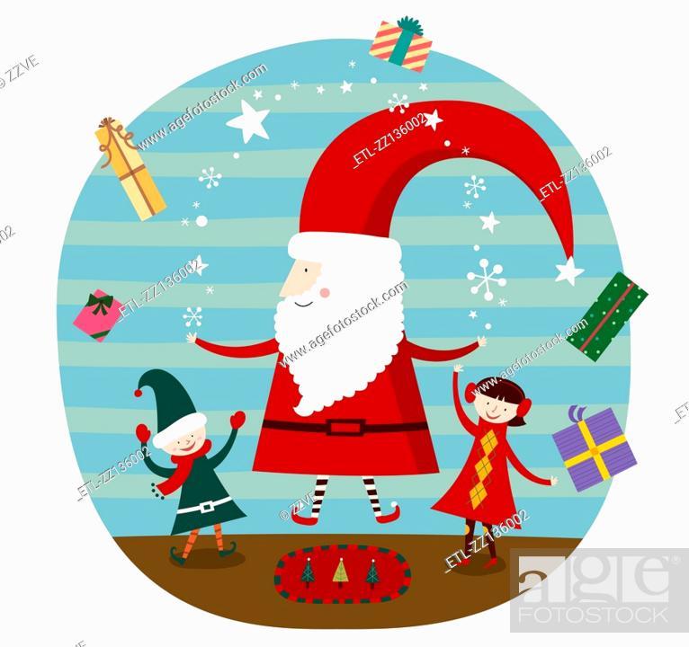 Stock Photo: Santa and Children.