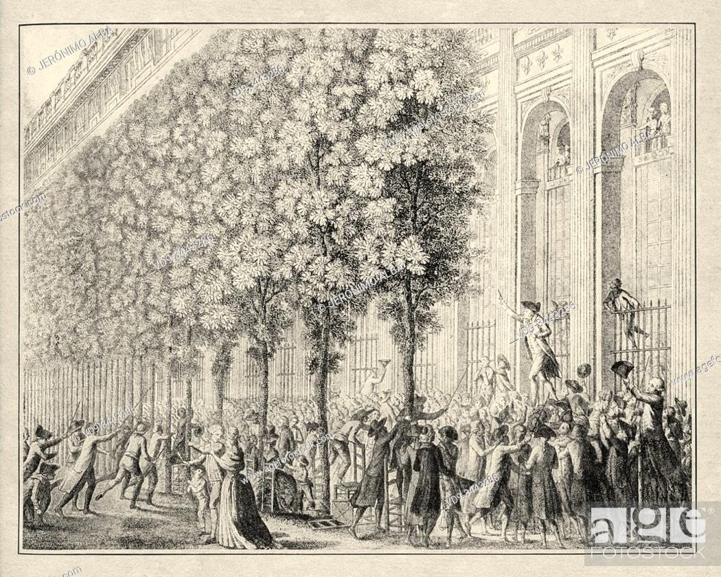 Stock Photo: Camille Desmoulins (1760-1794) at the Palais Royal. Paris, France. French Revolution 18th century. History of France, old engraved illustration image from the.