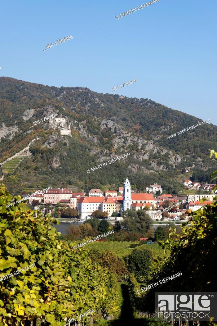 Imagen: Duernstein, view over vineyards near Rossatz and the Danube river, Wachau valley, Waldviertel region, Mostviertel region, Lower Austria, Austria, Europe.