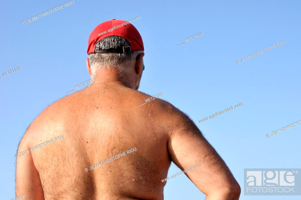 Stock Photo: Man's back, 50 years.