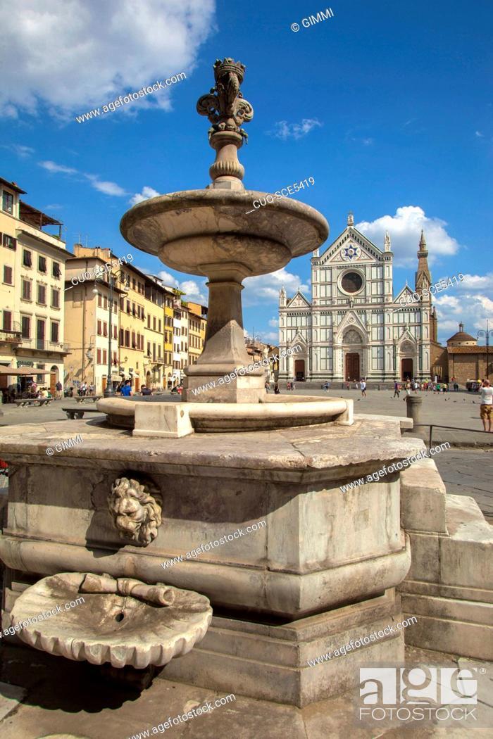 Stock Photo: Santa Croce church in Santa Croce square, Florence, Tuscany, Italy, Europe.