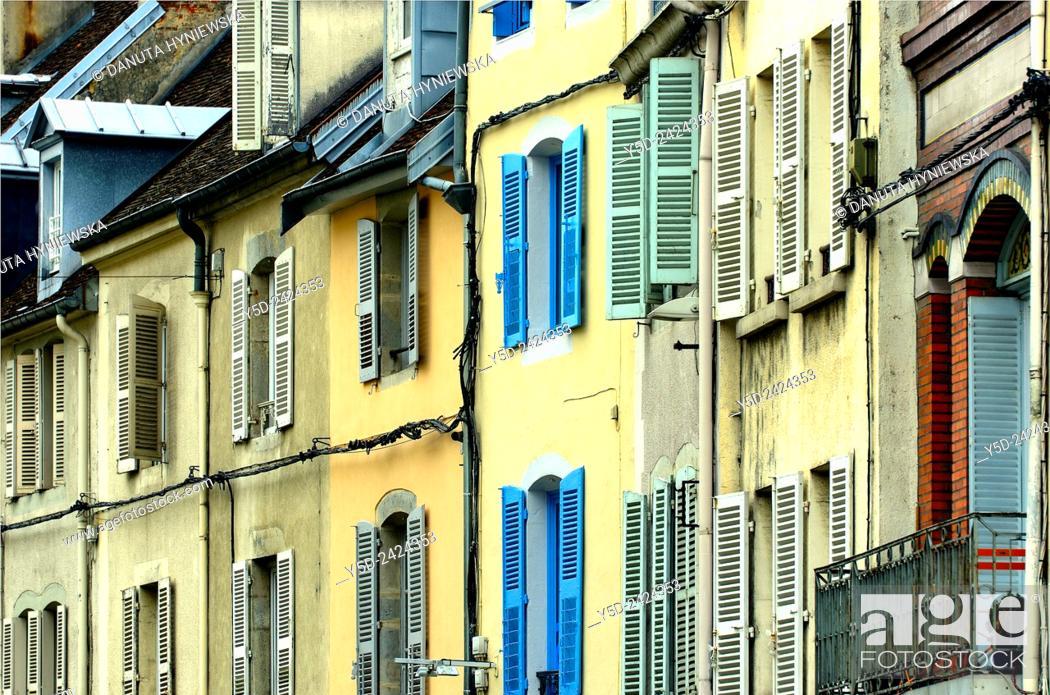 Stock Photo: Lons-le-Saunier, architectural details - facades of houses in city center, capital of Jura department - préfecture (39), region Franche-Comté, East of France.