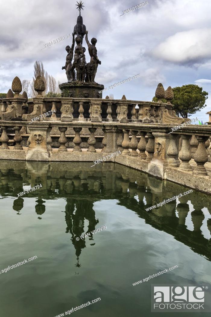Stock Photo: Fountain, Villa Lante, Bagnaia, Viterbo, Lazio, Italy.