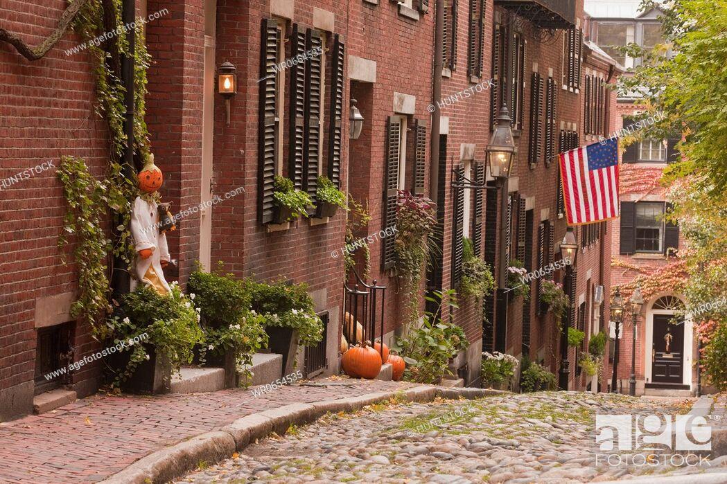 Stock Photo: Acorn Street during Halloween, Boston, Massachusetts, USA.