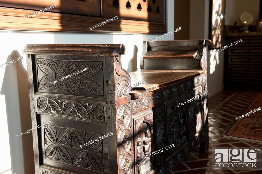 Marvelous Antique Wooden Storage Bench Stock Photo Picture And Uwap Interior Chair Design Uwaporg