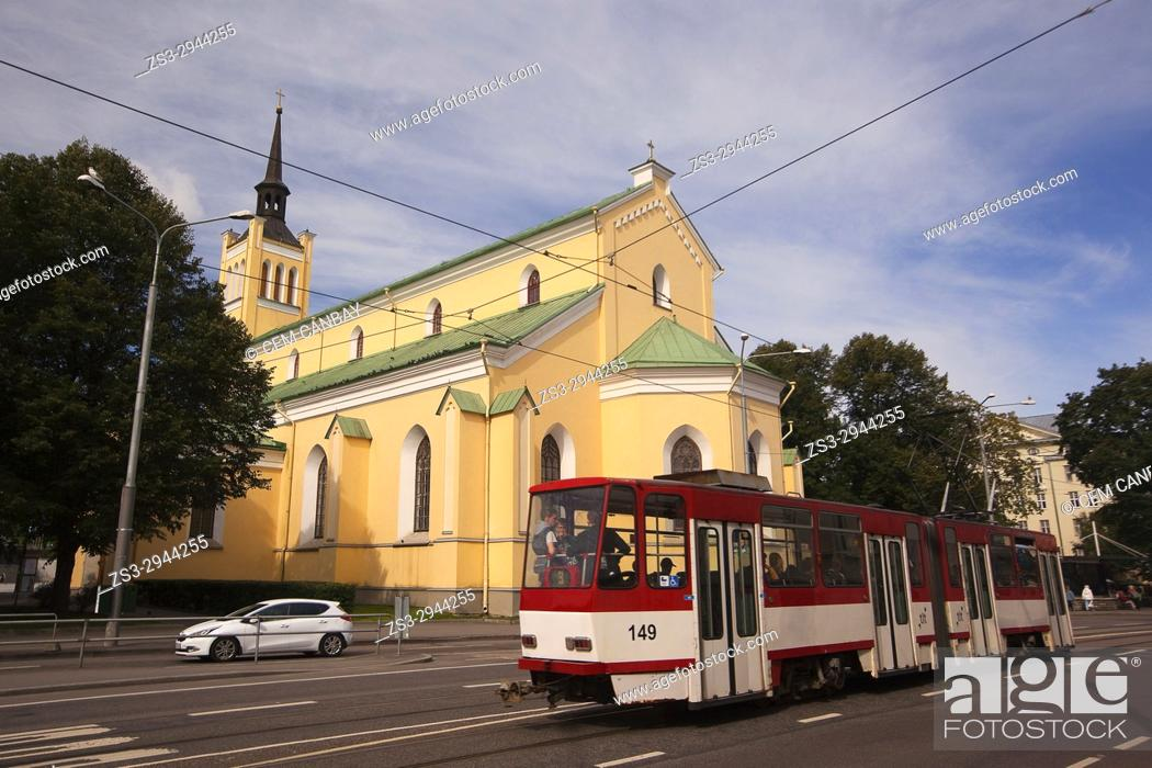Stock Photo: Tram in front of the St. John's Church in the old town, Tallinn, Estonia, Baltic States, Europe.