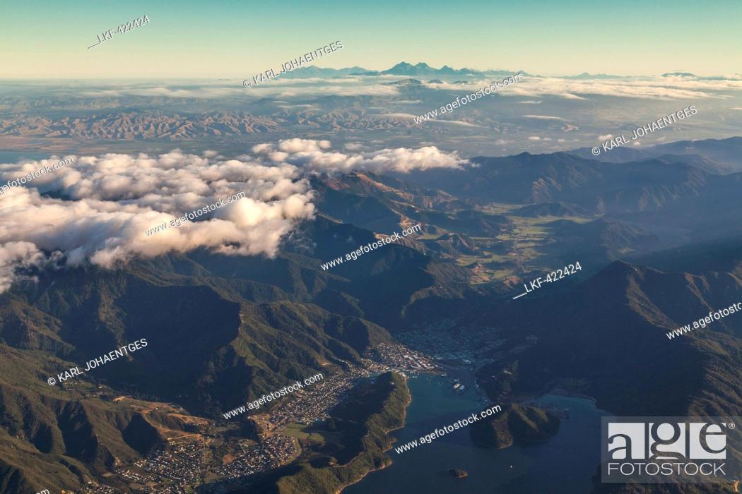 Aerial View Of Bays And Islands Near Picton Marlborough Sounds