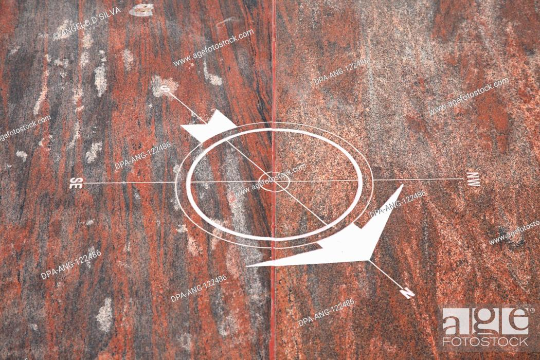 Imagen: Design of compass on the floor showing directions of North ; South ; South East ; North West outside Dhyana Mandapam at Swami Vivekananda Rock Memorial ;.