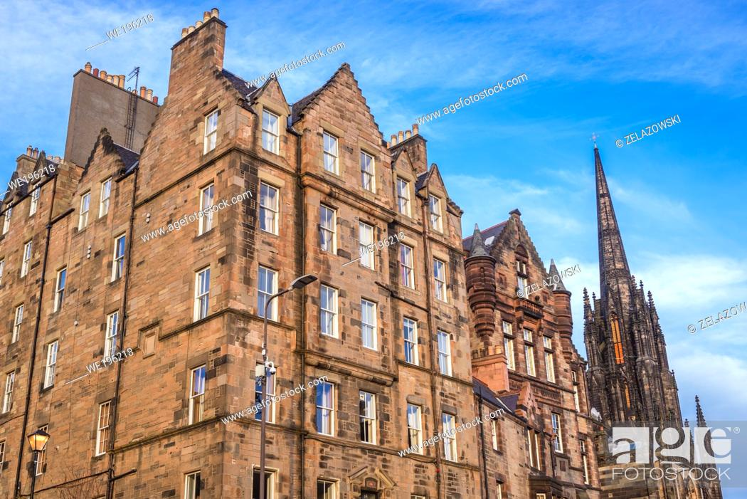 Stock Photo: Buildings on Johnston Terrace in Edinburgh, the capital of Scotland, United Kingdom, view with The Hub building also called Tolbooth Kirk.