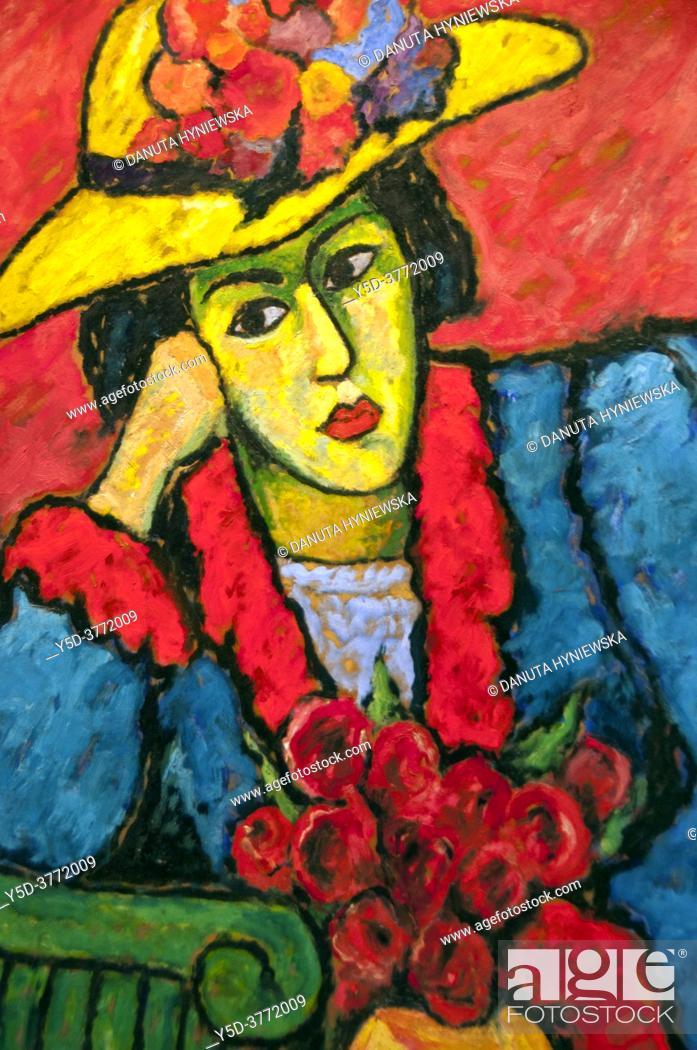 Stock Photo: Fondation Pierre Gianadda, Martigny, Switzerland, oil on cardboard - Alexej von Jawlensky (1864 – 1941) - 'dame au chapeau de paille jaune' - Lady in yellow.