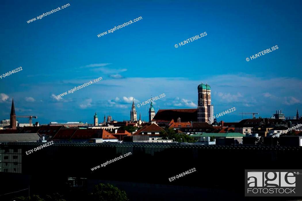 Stock Photo: Skyline with Frauenkirche in Munich, Germany.