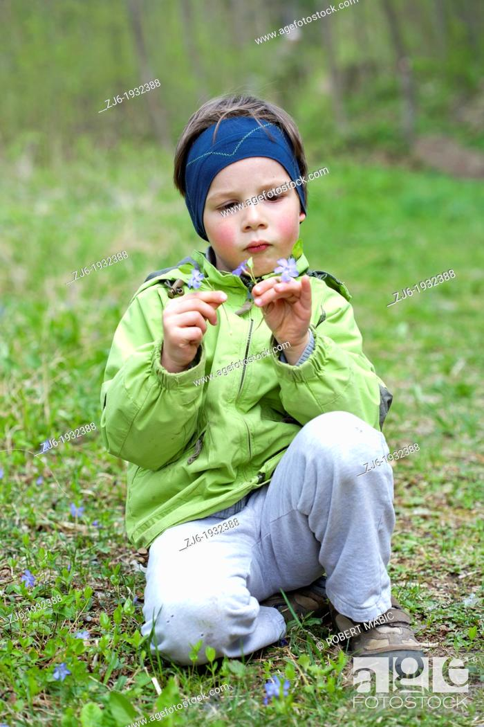 Stock Photo: Boy gathering flowers early in the spring.