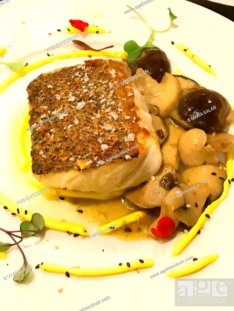 Stock Photo: Hake loin with vegetables.
