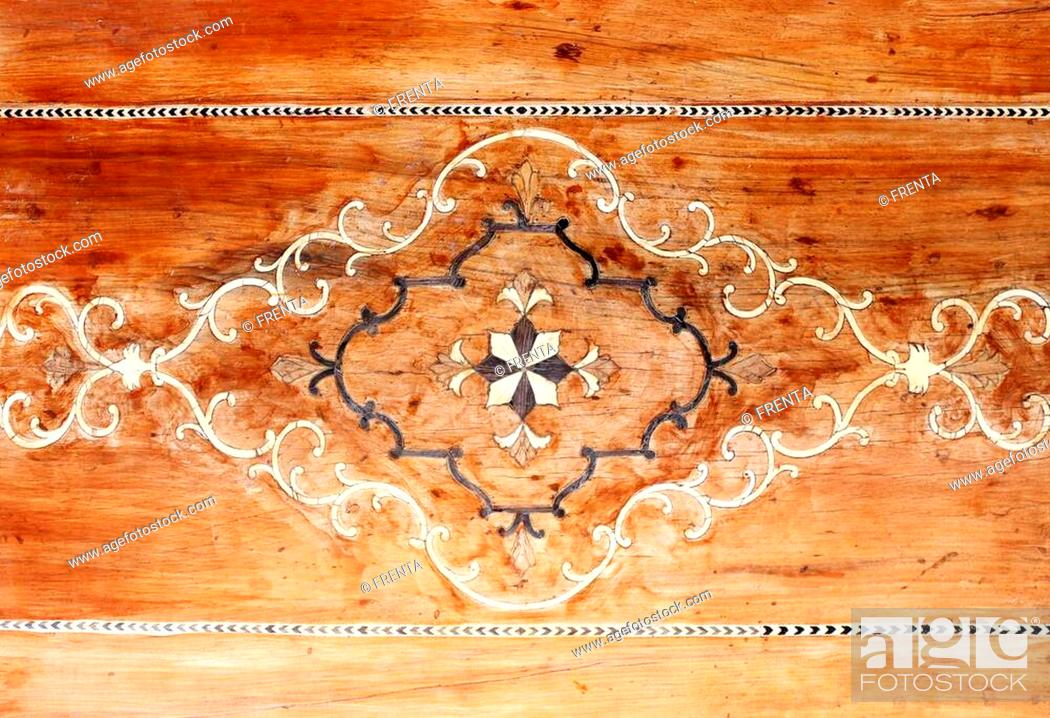 Stock Photo: Detail of traditional persian wooden wall panel with wood carving floral ornament, Nasir al-Mulk Mosque (Pink Mosque) in Shiraz, Iran.