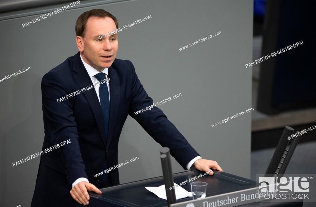 Stock Photo: 03 July 2020, Berlin: Volker Ullrich (CSU) speaks in the plenary session of the German Bundestag. The main topics of the 171st session of the 19th legislative.