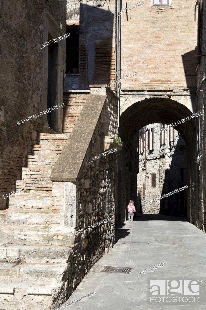 Stock Photo: historic alley of the city of Narni, near Terni, Umbria, Italy.