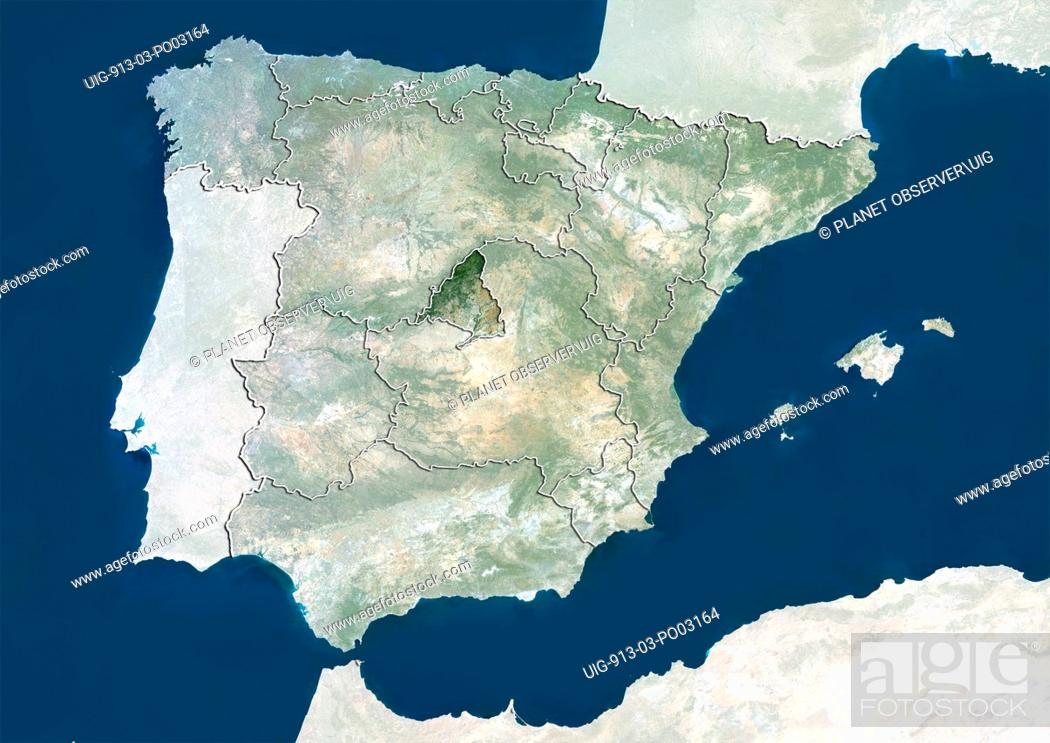 Satellite Map Of Spain.Satellite View Of Spain Showing The Region Of Madrid This Image Was