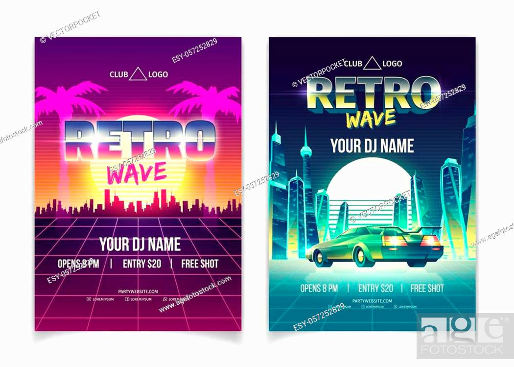 Stock Vector: Retro wave music party, DJ performance in nightclub cartoon vector ad leaflet, promo poster, flyer page. Setting sun over metropolis.
