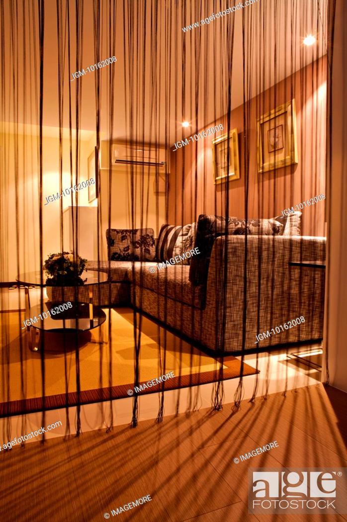 Stock Photo: Interior Design - Living Room behind modern curtain.