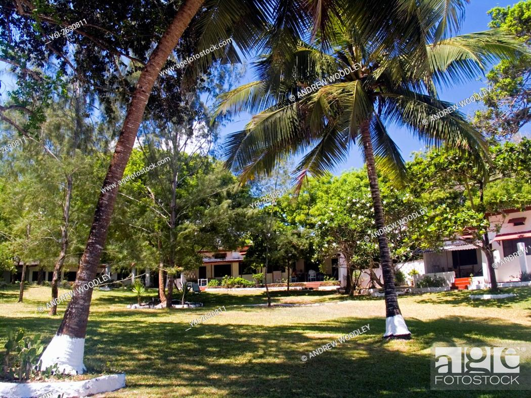 Stock Photo: Holiday bungalow resort on Diani Beach Kenya.