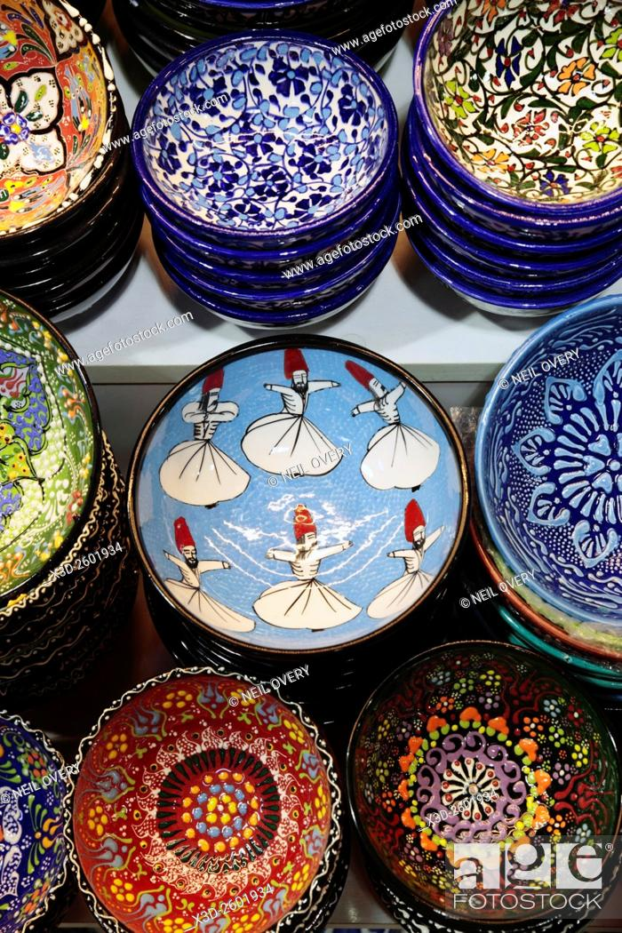 Stock Photo: Colorful Turkish Ceramic Sourvenirs in Istanbul, Turkey.