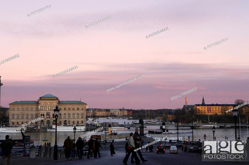 Stock Photo: Stockholm skyline, the southern side of Blasieholmen, Sweden.