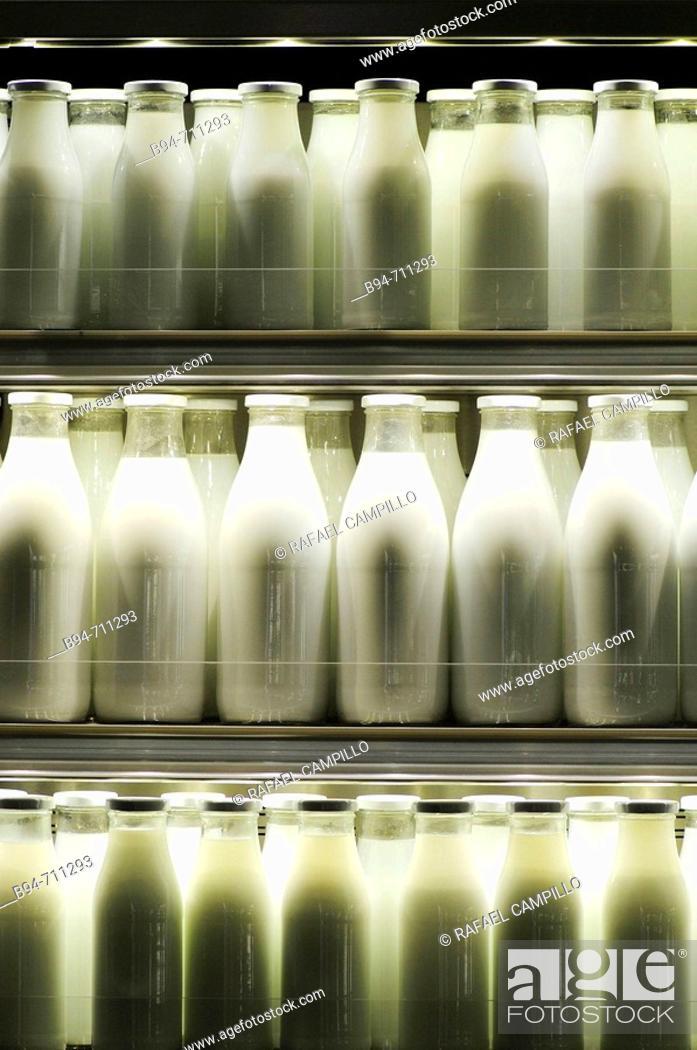 Stock Photo: Milk bottles. Barcelona.