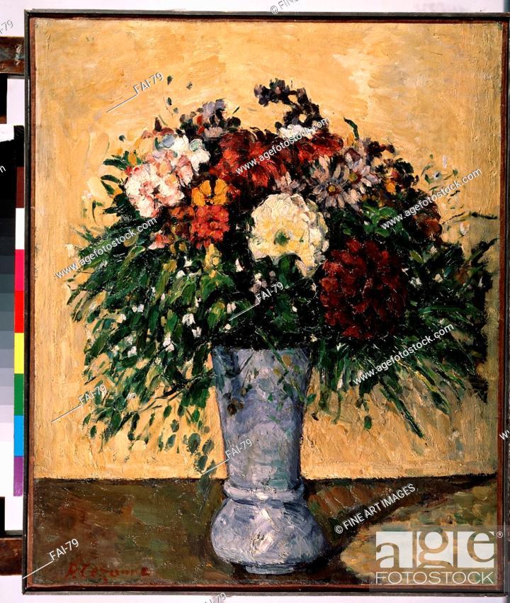 Flowers In A Blue Vase Czanne Paul 1839 1906 Oil On Canvas