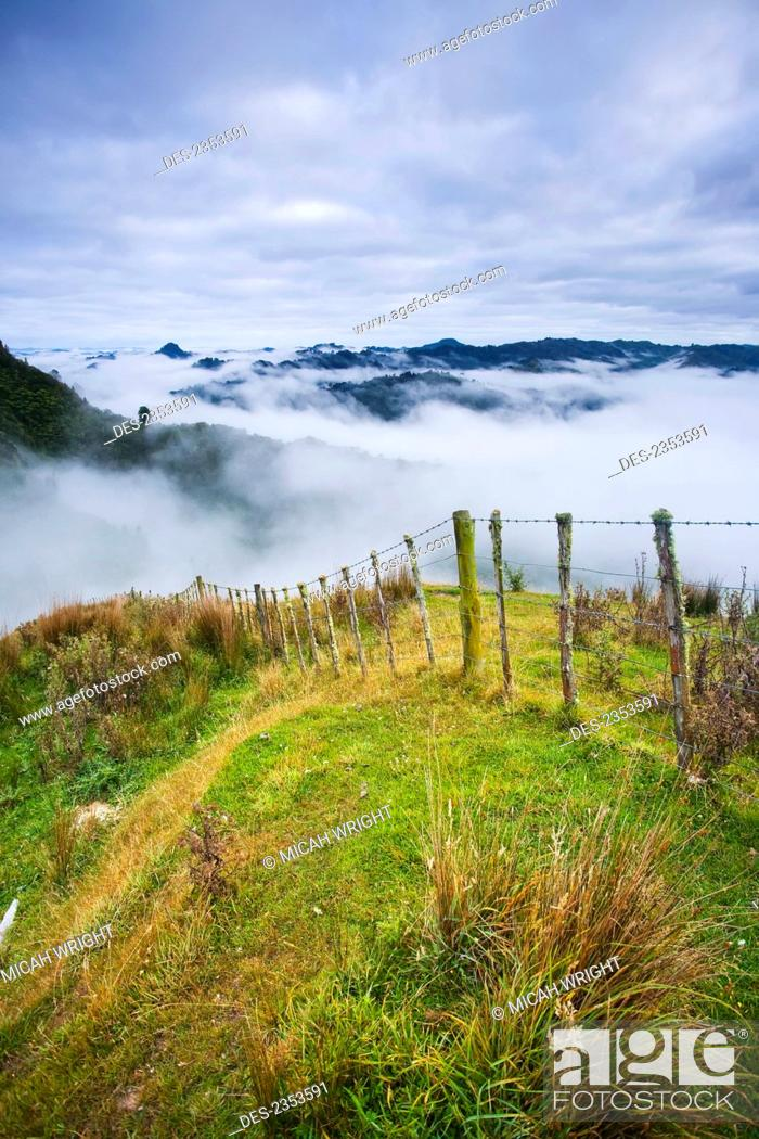 Stock Photo: View from the tops of the hills over the morning fog at Blue Duck lodge in the Whanganui National park; Whakahoro, New Zealand.