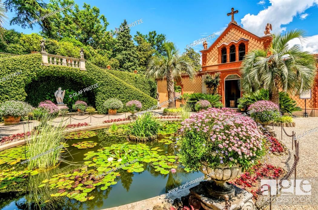 Stock Photo: Courtyard and family chapel of Palazzo Madre at Isola Madre, Lago Maggiore, Piedmont, Italy.