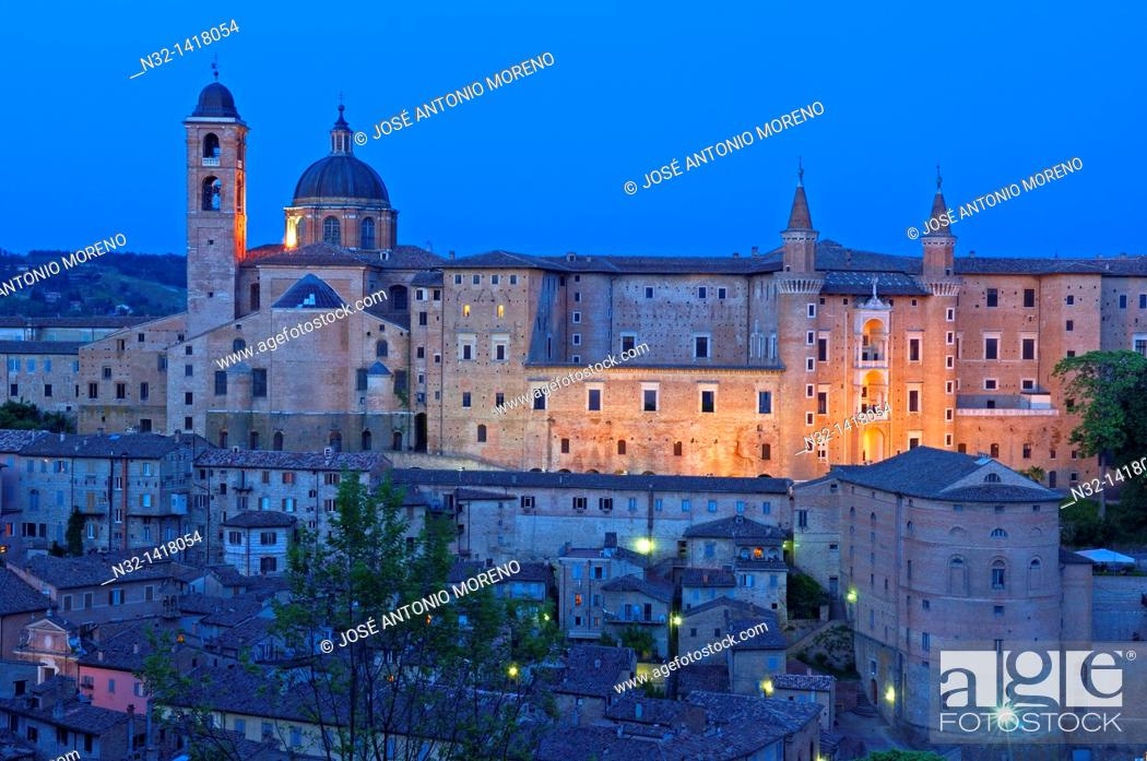 Stock Photo: Duomo cathedral and Ducal Palace, Urbino, Marche, Italy.