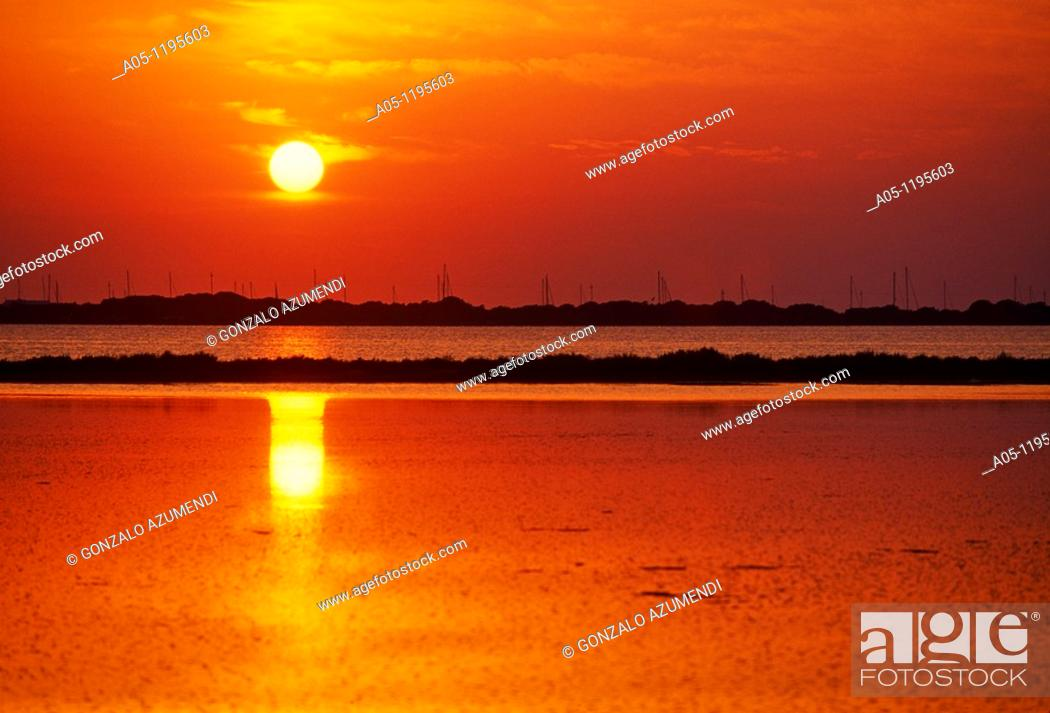 Stock Photo: Sunset in Pudent Lake. Formentera. Balearic Islands. Spain.