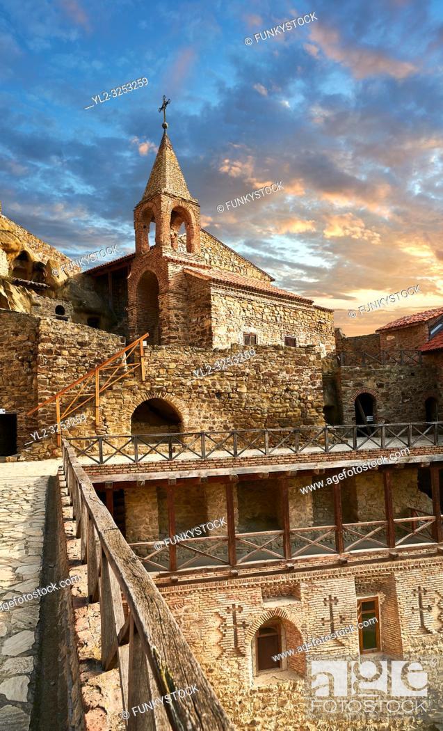 Stock Photo: Picture & image of David Gareja Georgian Orthodox monastery, Mount Gareja, Kakheti Region, Georgia (country). 25 km (15 miles) from Gardabani.